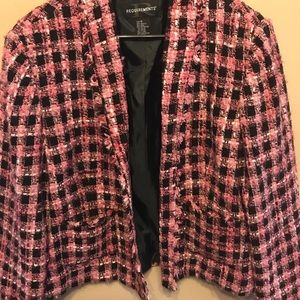 Pink and black houndstooth check short jacket